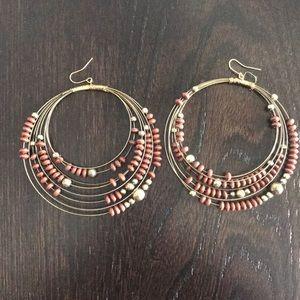 Jewelry - Gold and brown bead hoop earrings